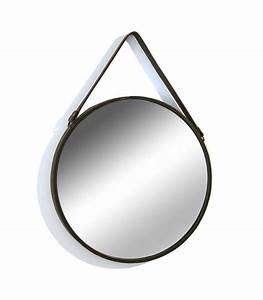 Miroir Rond Suspendu : miroir suspendu avec lani re similicuir marron ~ Teatrodelosmanantiales.com Idées de Décoration