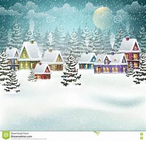 Winter Village On Christmas Tree Cartoon Vector