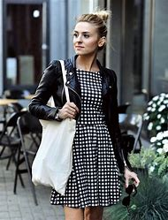 Black and White Dress with Leather Jacket