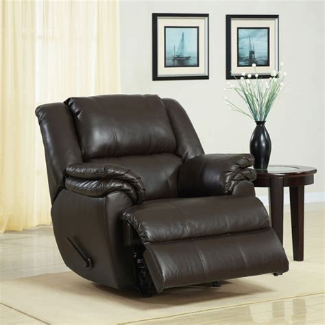 recliners walmart ashford padded rocker recliner dark brown faux leather walmart com