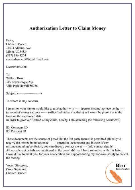 authorization letter template  claim format sample