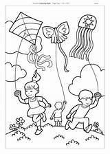 Coloring Kites Pages Kite Flying Children Drawing Printable Scene Activities Revere Paul Colouring Getcolorings Child Arts Misc Crafts sketch template