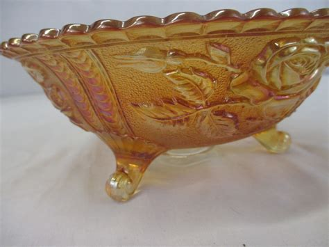 carnival glass bowl vintage imperial marigold carnival glass bowl scroll footed rose pattern 579 ebay
