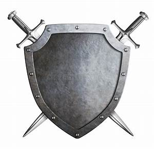 Aged Metal Shield With Crossed Swords Coat Of Arms Stock ...