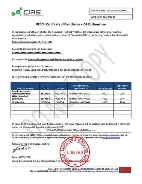 Reach Certificate Of Compliance Template by Cirsireland Pdfsr