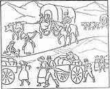 Pioneer Coloring Wagon History Covered Lds Mormon Drawing Texas Communication Activities Bridge Pioneers Transportation Improvement Printable Historical Children Sheets October sketch template
