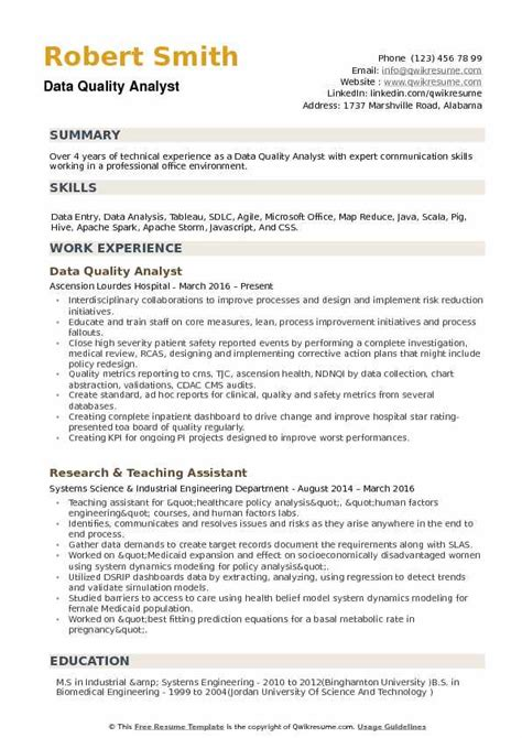 Quality Analyst Resume by Data Quality Analyst Resume Sles Qwikresume
