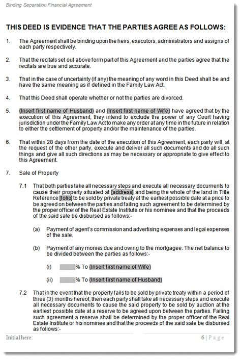 separation agreement template  married couple australia