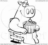 Popcorn Coloring Theater Cartoon Clipart Pages Pig Happy Template Outlined Vector Dog sketch template
