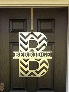 chevron monogram front door wreath monogram door wreath With metal door letters