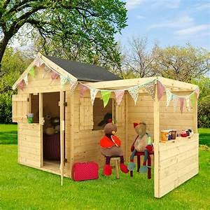 Cabane Enfant Leroy Merlin : maisonnette enfant bois alpaga avec pergola l125 x p121 6 x h29 7 cm 85 kg gamm vert ~ Melissatoandfro.com Idées de Décoration