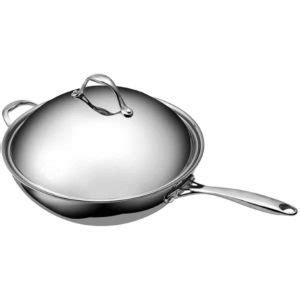 home cooking tri ply clad copper wok pan  covered stainless steel lid