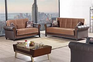 Long island brown fabric sofa bed by empire furniture usa for Long island sectional sofa grey fabric