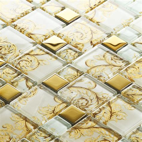 decorative kitchen wall tiles beige glass mosaic tile painted gold plated 6503