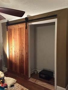 rough cut cedar closet barn door build by scrapwork With cedar closet doors