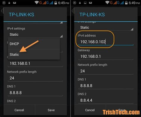 ip android how to change wifi ip address in android