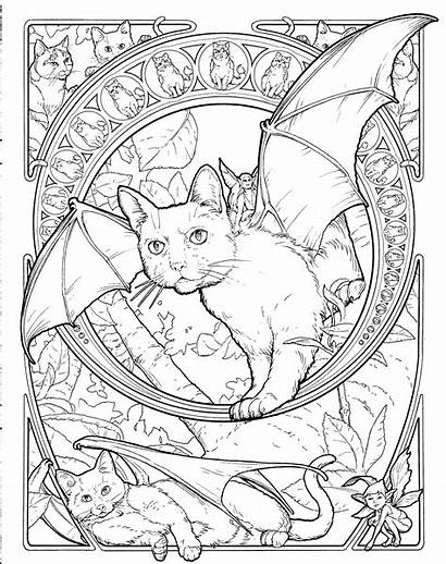 Coloring Cat Adults Adult Books Pages Fantasy