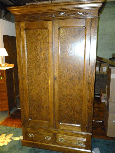 Antique Armoire With Drawers by Antique Oak Wardrobe Armoire Bedroom Oak Wardrobe