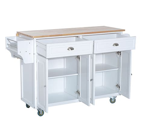 Kitchen Utility Cart With Drawers by Homcom Wood Kitchen Cart Island Storage Cabinet Drawers