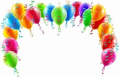 Balloon Birthday Transparent Border Arch Colorful Clipart