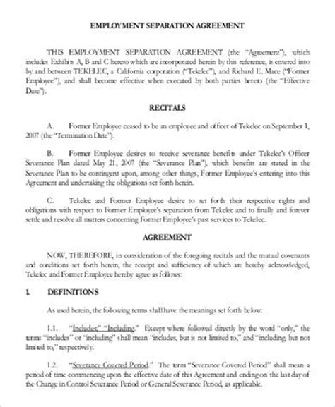 employee separation agreement template 42 sle employment agreements in pdf sle templates