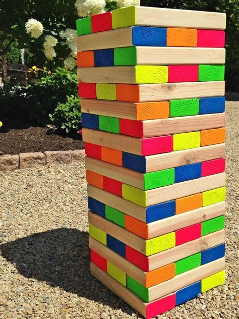 backyard jenga how to make a colorful outdoor jenga pet