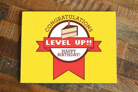 gamer birthday card level  funny birthday nerdy birthday