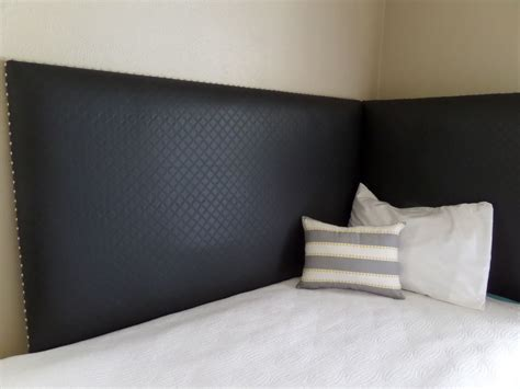 Corner Headboard Daybed Black Faux Leather Silver Nail