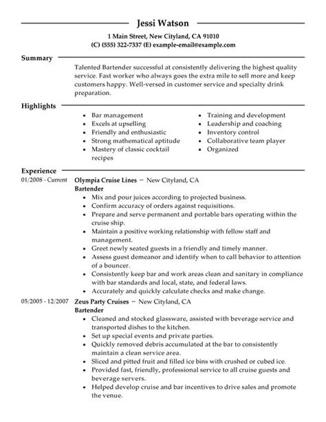 Stand Out Resume Sles by Bartender Resume Exle Template Learnhowtoloseweight Net