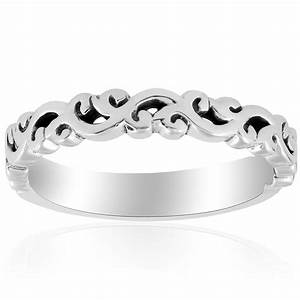 14k white gold hand carved womens wedding band filigree With wedding rings filigree womens