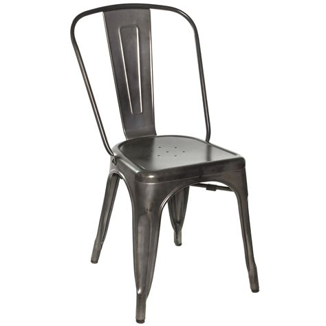 chairs galvanized gunmetal steel side chair