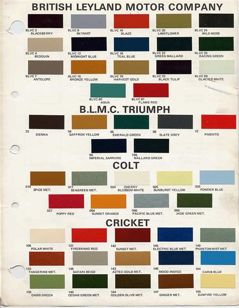 bmc bl paint codes and colors tech library the