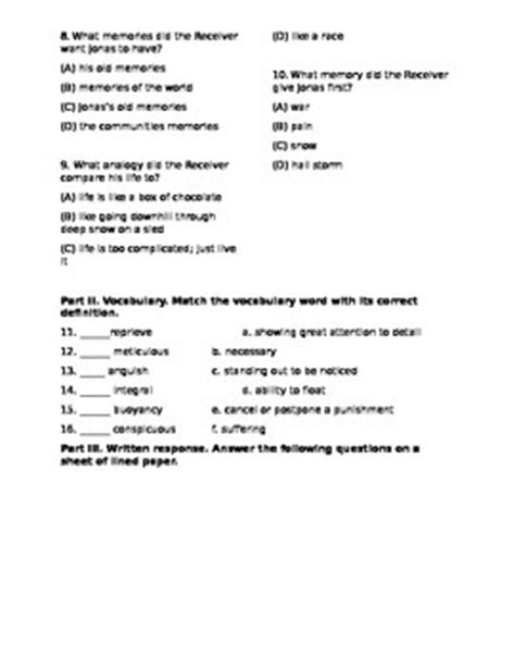 The Giver Resume Chapter 6 by The Giver Test Chapters 6 10 By Dina Lasky Teachers Pay Teachers