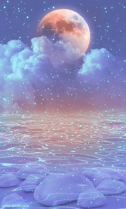 Aesthetic Moon Colorful Falling Stars Space Mooning