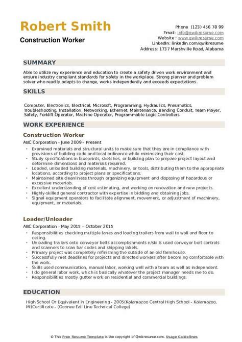 Sle Resume For A Construction Worker by Construction Worker Resume Sles Qwikresume