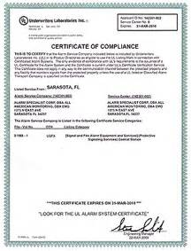 alarm certificate for insurance template  Burglar Alarm Project: Burglar Alarm Certificate Template