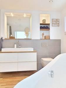 Badezimmer Fliesen Grau Weiß : kleines badezimmer natuerlich modern holz grau naturstein ~ Watch28wear.com Haus und Dekorationen