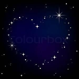Star heart in night sky Stock Vector Colourbox