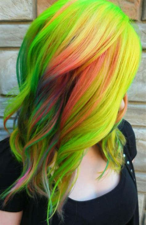 Green Yellow Multi Color Dyed Hair Color Theunicorntribe