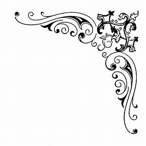Digital Stamp Design: Flourish Rose Border Corner Clip Art ...