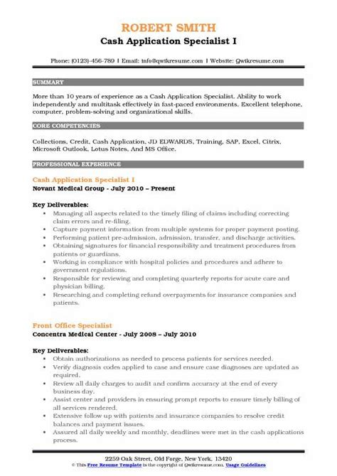 Resume Sle For Application by Application Specialist Resume Sles Qwikresume