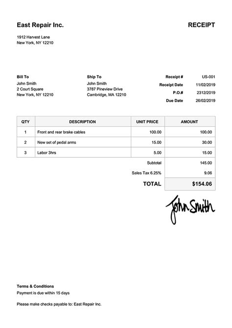 receipt templates print email receipts