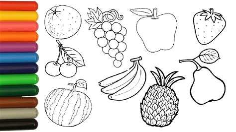 fruits coloring pages  children coloring orange banana