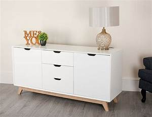 Large, 3, Drawer, 2, Door, Sideboard, In, White, With, Matt, Or, High, Gloss, Finish, Abreo, Home, Furniture
