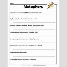Metaphor Worksheet  School Stuff  Pinterest  Literature, What's The And Assessment