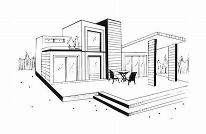 Sketch Modern Villa Illustration Drawn Residential Private