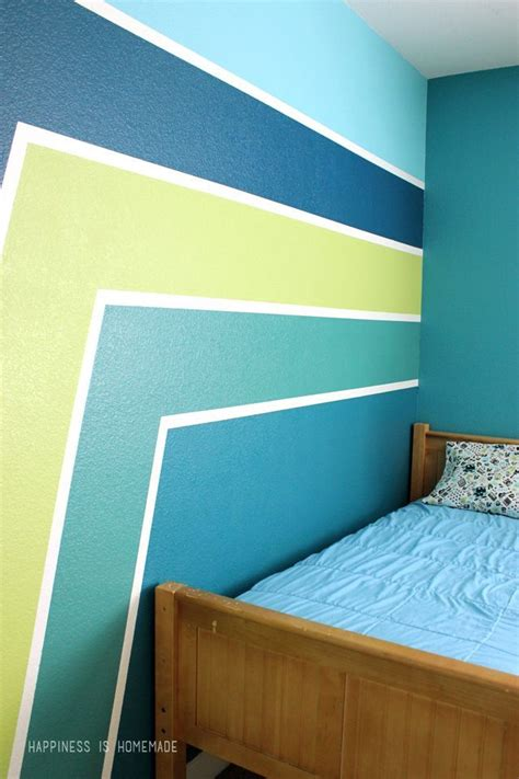 boys bedroom wall  racing stripes  perfect crisp