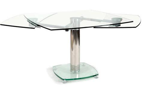 table de cuisine en verre avec rallonge table carrée avec allonges plateau verre transparent