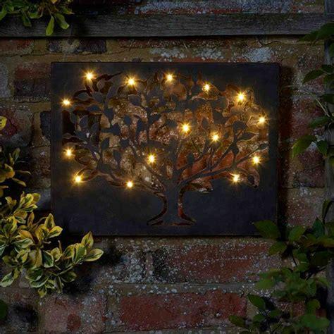 led tree metal indoor outdoor metal wall art light timer