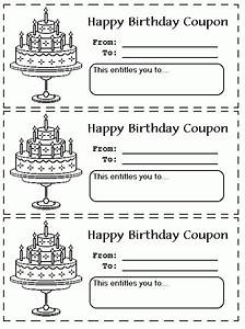 printable birthday coupons coloring pages gift ideas With coupon template for pages